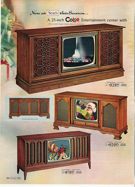 1966 Sears - my Grandmother had one of these console TV's. Tvs, Radios, Old Advertisements, Retro Advertising, Retro Ads, Vintage Tv, Vintage Antiques, Vintage Interiors, Vintage Television