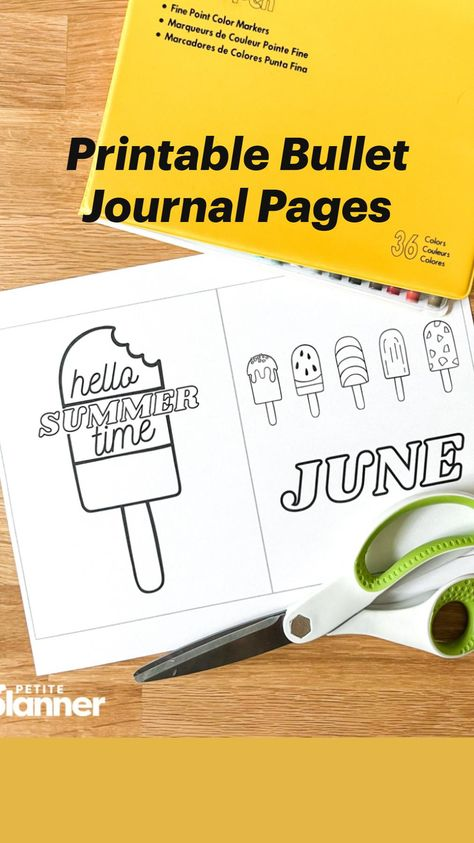 Printable Bullet Journal Pages for June