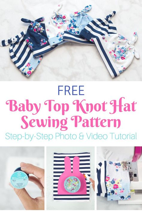 Double Top Knot Baby Mütze Gratis Schnittmuster Free Easy Baby Top Knot Hat Sewing Pattern with Video and Photo Tutorial - Praktisches Nähen