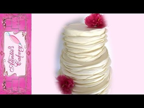 This is a simple, but time consuming design to make. I'll walk you through the steps as I make the cover the cake in fondant, create fondant strips, and plac. Camo Wedding Cakes, Fondant Wedding Cakes, Wedding Cake Rustic, White Wedding Cakes, Wedding Cake Designs, Wedding Cupcakes, Ruffle Cake Tutorial, Fondant Cake Tutorial, Fondant Ruffles
