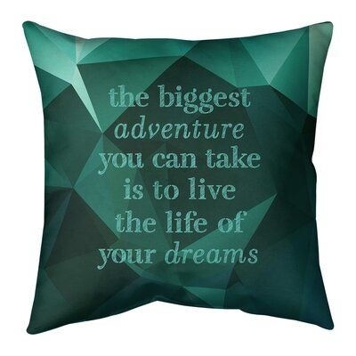 East Urban Home Faux Gemstone The Biggest Adventure Quote Pillow Wayfair Ca Quote Pillow Covers Travel Love Quotes Perseverance Quotes