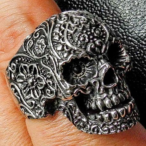 Men's Sugar Skull Ring Día de los Muertos, Day of Dead,SZ 10.75, Stainless Stee - Other