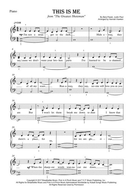 Download This Is Me From The Greatest Showman Easy Piano Sheet