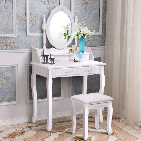 Costway Vanity Wood Makeup Dressing Table Set With Stool Mirror 4 Drawers Multiple Colors Walmart Com Dressing Table Set Vanity Table Set Dressing Table With Stool