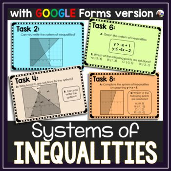 Systems Of Linear Inequalities Tasks Print And Digital Inequality Algebra Word Walls Google Forms