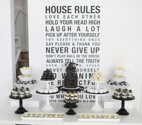 A BLACK AND WHITE 40TH BIRTHDAY DESSERT TABLE