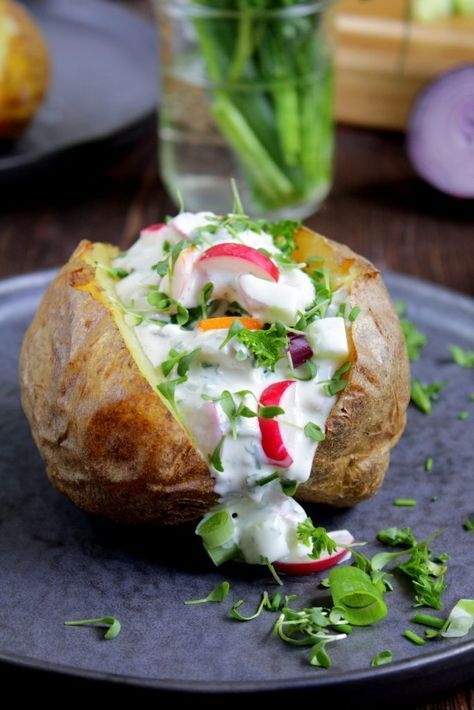 Swell Baked Potato With Creamy Vegetables Herbs Cottage Cheese Interior Design Ideas Gentotryabchikinfo