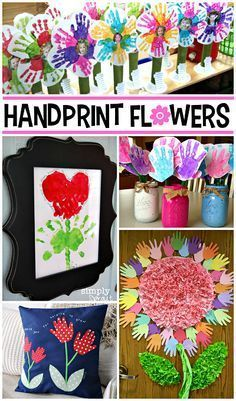 Kids Handprint flower crafts ! Perfect for Mother's Day or Teacher's Appreciation Gift !