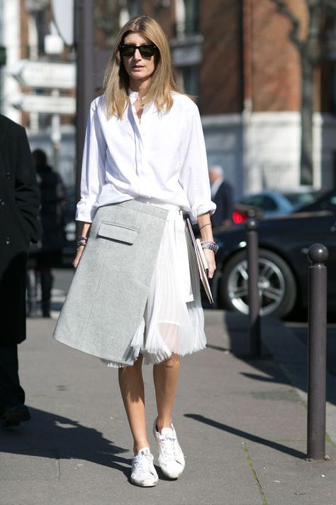 Outfit ideas: how to wear white sneakers women street style simple edgy unique asymmetrical skirt