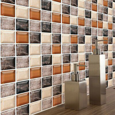 Diy Self Adhesive Mosaic Wall Sticker Tile Kitchen Bathroom Kitchen Home Decor Decals Stickers In 2020 Bathroom Wall Stickers Wall Stickers Tiles Wall Stickers Room