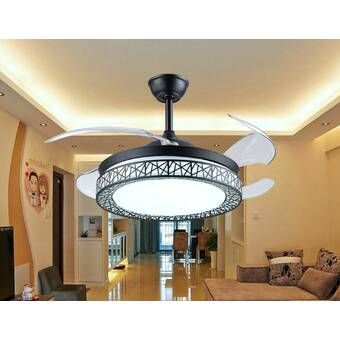 46 Elaine 4 Blade Led Retractable Blades Ceiling Fan With Remote Control And Light Kit Included In 2021 Ceiling Fan With Remote Ceiling Fan Led Ceiling Fan