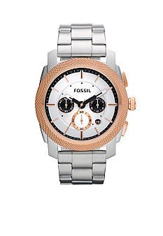 Fossil® Stainless Steel Watch with Rose Gold Top Ring #belk #gifts #men