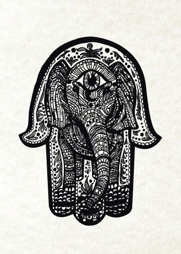 Elephant Hamsa Print from Original Pen and Ink by by CMSStationery, $15.00