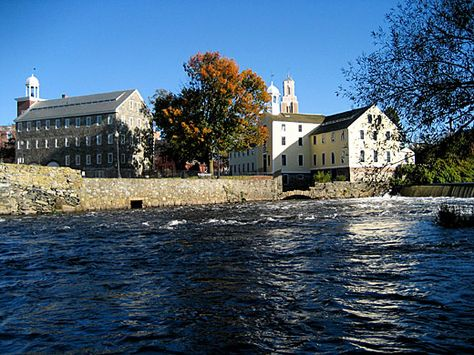 Slater Mill historic site viewed from across the Blackstone River