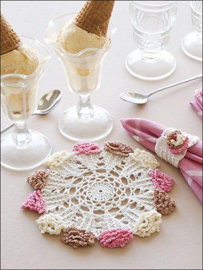 Ice Cream Cone Doily & Napkin Ring - free crochet pattern