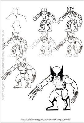 Belajar Menggambar Untuk Anak Cara Menggambar Kartun Wolverine Kartun Cara Menggambar Gambar