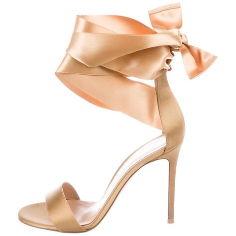 0c0b996bea5 Gianvito Rossi Gold Satin WrapAround Bow Evening Sandals Heels in 2019