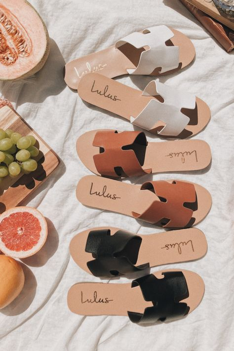 Lulus Exclusive! Get ready for summer with the Saxon Tan Slide Sandals. These cute sandals pair perfectly with all your casual summer outfits. The versatile neutral colors, tan, white, and black offer endless options to your ever-growing sandal collection! #lovelulus