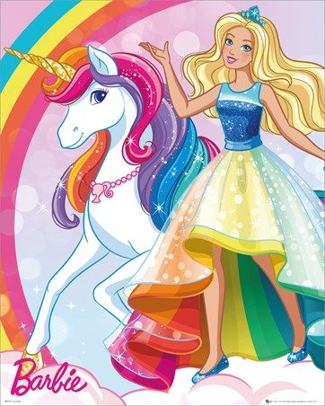 Enter An Enchanting World Where A Unicorn Can Be Your Best Friend As You Join Barbie For A Magical Journey In Dre Barbie Drawing Unicorn Barbie Unicorn Poster