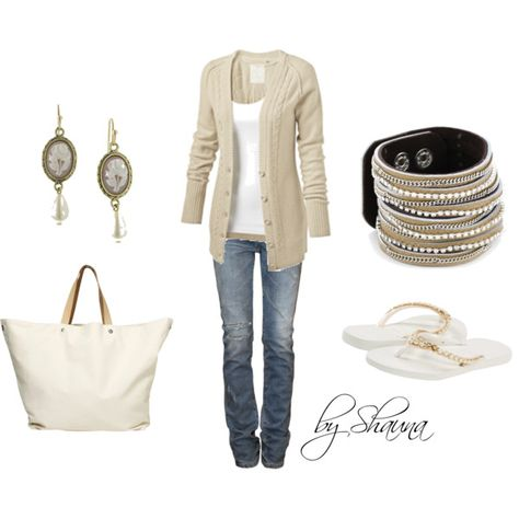 The simple beauty of white and tan - Polyvore; very comfy looking outfit; great for casual day at work, minus the flip-flops...need to wear heels or boots; but great for shopping.