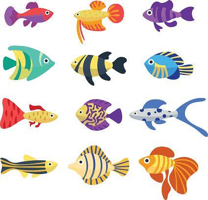 Set Of Aquarium Fish Cute Cartoon Colorful Different Fish Aquarium In 2020 Fish Drawings Fish Art Cute Cartoon