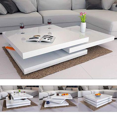 Couchtisch Beistelltisch Wohnzimmertisch Sofatisch Tischplatte Drehbar Weiß