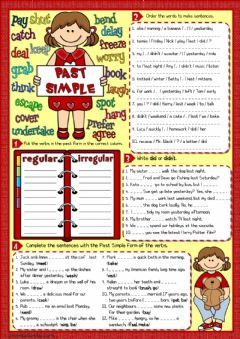 Past simple - 4 tasks Language: English Grade/level: pre-intermediate School subject: English as a Second Language (ESL) Main content: Past simple Other contents: