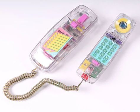 vintage NEON clear telephone touch tone see through transparent trim line phone new old stock