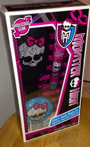 MONSTER HIGH Ghoul's Jewels Beauty Set Full-Size Paddle Brush with Compact Mirror and Lip Gloss