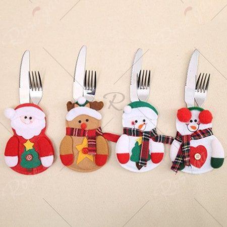 Santa Cutlery Set Table Decoration Cute Christmas Decorations Christmas Tableware Christmas Table Decorations