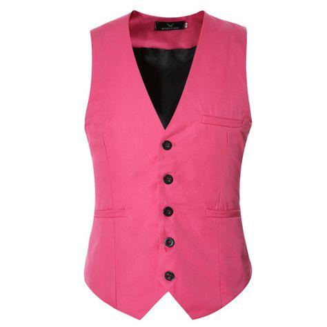 HISDERN Mens Formal Wedding Party 5 Buttons Wool Waistcoat Solid Dress Suit Vest Waistcoats