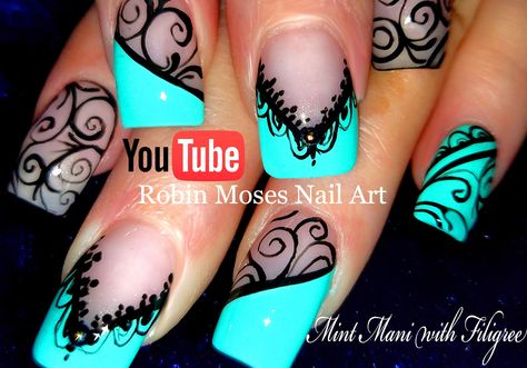 Black Lace Mint Mani | DIY Hand Painted Nail Art Design Tutorial