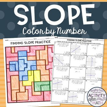 Finding Slope Coloring Activity Color Activities Math