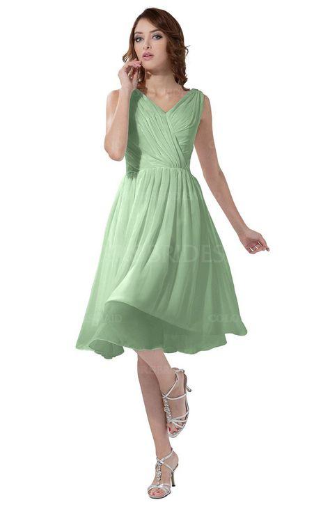 9836d227167 Light Green Simple A-line V-neck Zipper Knee Length Ruching Party Dresses  (Style D99263)