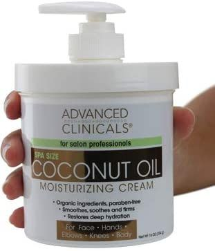 Amazon Com Advanced Clinicals Coconut Oil Cream Spa Size 16oz Moisturizing Cream Coconut Oil In 2020 Lotion For Dry Skin Best Body Moisturizer Dry Skin Body Lotion