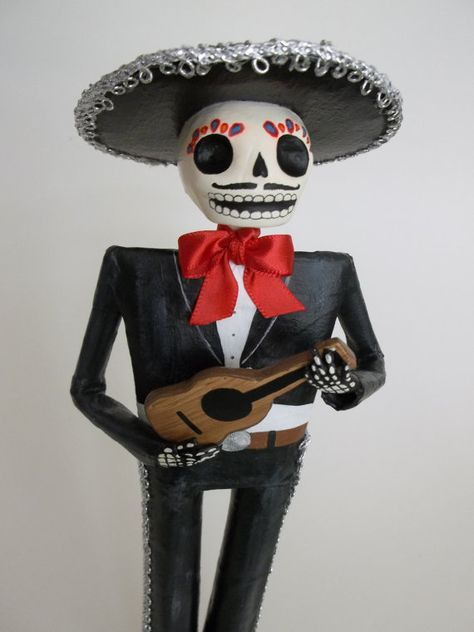 Day Of The Dead Mariachi Paper Mache Doll By Lacasaroja On
