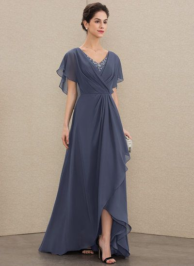 A-Line V-neck Asymmetrical Chiffon Mother of the Bride Dress With Beading Sequin. - - A-Line V-neck Asymmetrical Chiffon Mother of the Bride Dress With Beading Sequins – Mother of the Bride Dresses – JJ's House Source by hauteprincess