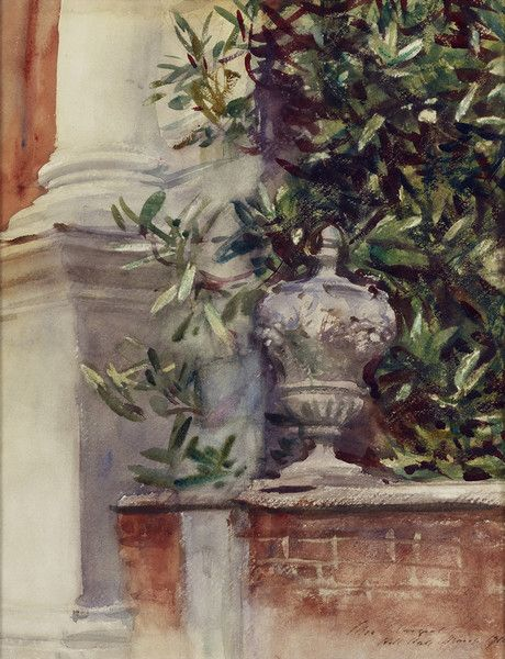 John Singer Sargent (USA, - The Terrace at Hill Hall - 1910 - watercolor - Hunter Museum of American Art (United States - Chattanooga, Tennessee)