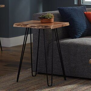 Union Rustic Tindle Live Edge Hairpin End Table End Tables Wood