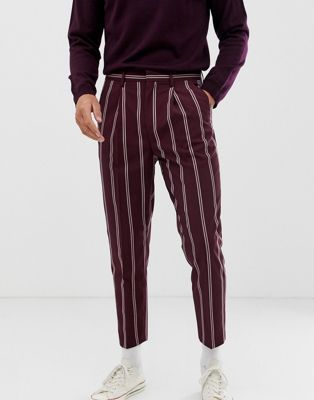 Asos Design Asos Design Tapered Pants In Burgundy With Pin Stripe New Look Trousers Mens Party Wear Mens Trousers