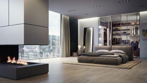 Chambre Moderne Avec Dressing, Cheminée Et Lit King Size