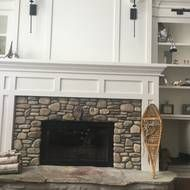 Fireplace With River Rock Stone Surround Traditional White Mantel Surround Rock Fireplaces Fireplace Makeover Fireplace