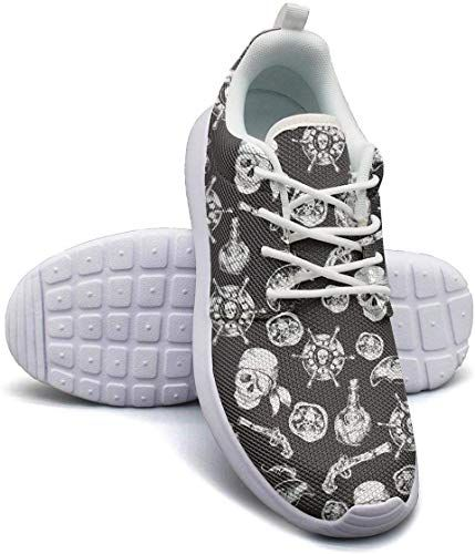YSLC Skull Print Lightweight Running Shoes for Men Sneaker Lace-up Breathable Shoes