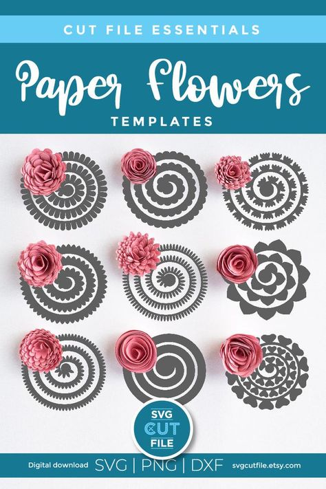 Felt Flower Template, Paper Flower Patterns, Flower Svg, Paper Flower Tutorial, Free Paper Flower Templates, Printable Flower, Pattern Flower, Ribbon Flower, Free Printable
