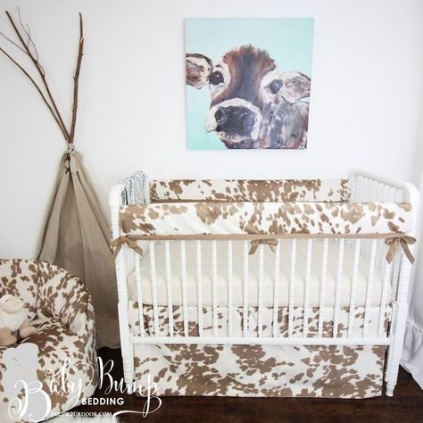 Tan Cowhide Gender Neutral Crib Bedding Set#bedding #cowhide #crib #gender #neutral #set #tan
