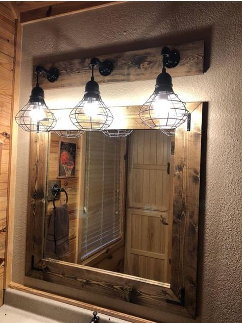 Espresso Mirror And Light Set Bathroom Set Industrial Bathroom Pendant Shade Light Industrial Bathroom Decor Rustic Bathroom Designs Bathroom Light Fixtures