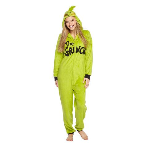 5eabbf1528 Grinch Women s Licensed Sleepwear Adult Onesie Costume Union Suit Pajama