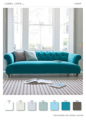 Sally Lee By The Sea | Make A Turquoise Statement With A Couch |  Http://nauticalcottageblog.com | Coastal Living | Pinterest | Sally,  Turquoise And ...