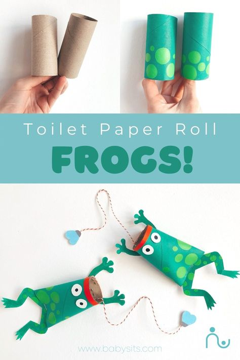 These super cool toilet paper roll craft frogs aren't just fun for kids to make, they also double as a fun game! Try and catch the fly in the frogs mouth. Create multiple toilet paper roll frogs and compete against your friends. #crafts #craftsforkids #toiletpaperrollcrafts #frogcraft #craftingwithkids