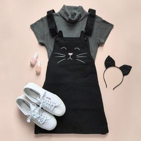 93f3667721 Product Name Embroidered Cat Overall Dress